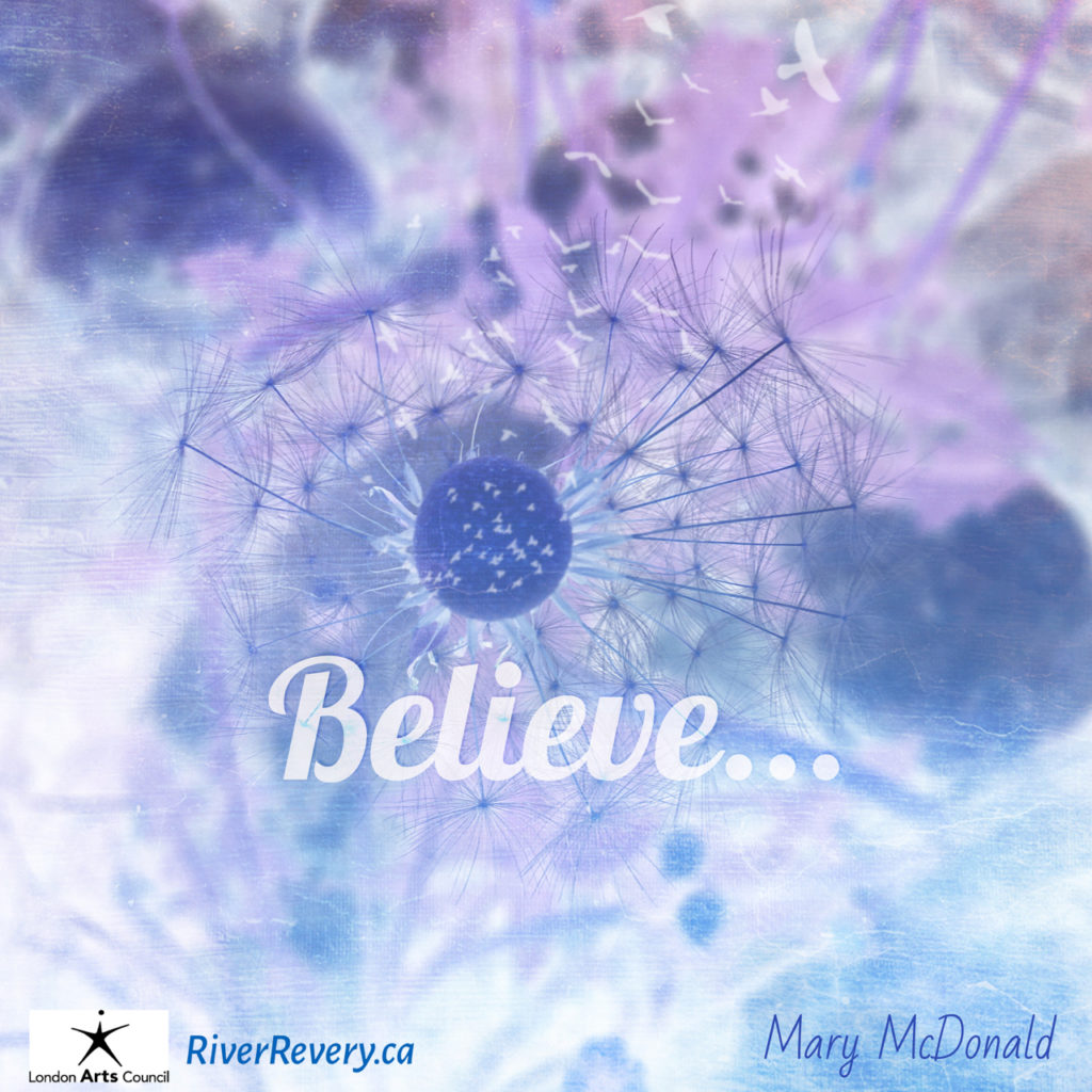 image for Believe post dandelion with wishes, and birds flying out in purple, and pink