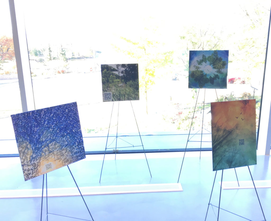Augmented Reality Art exhibit at Centre at the Forks -- 4 pieces of art on stands in front of the windows