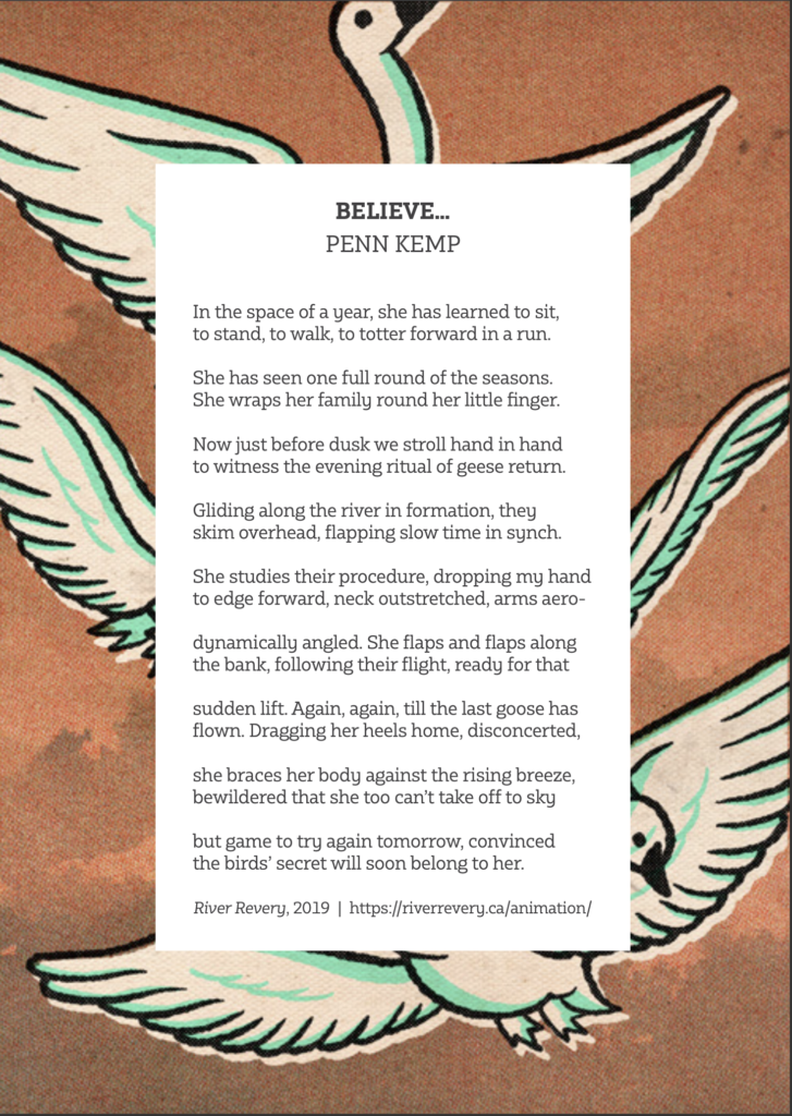Believe postcard for Poem in Your Pocket by League of Canadian Poets featured in #Stay at Home updates for River Revery